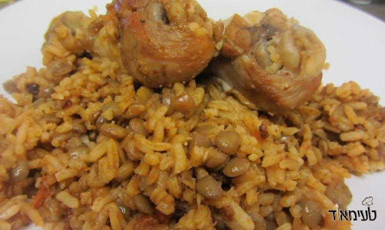 תבשיל עוף עם אורז ועדשים