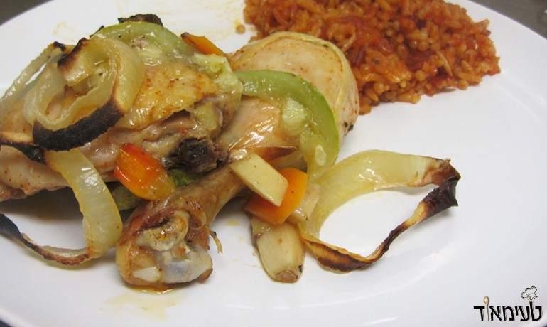 עוף עם ירקות שורש בתנור