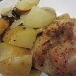 עוף בלימון ופטריות עם תפוחי אדמה