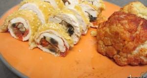 חזה עוף ממולא פטריות ועגבניות שרי בתנור