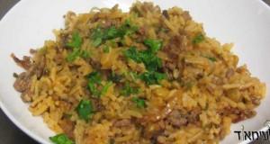 תבשיל אורז עם בשר ועדשים