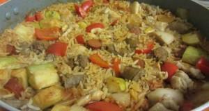 תבשיל פרגיות וצ'וריסו עם ירקות