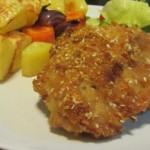 עוף בדבש ושום בציפוי פירורי לחם בתנור