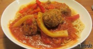 כדורי בשר ברוטב עגבניות עם ירקות