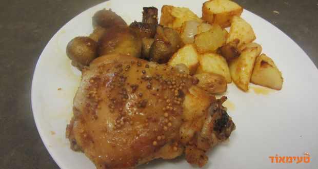 עוף עם פטריות בתנור